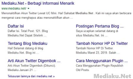 Mendapatkan Sitelink Versi Mediaku.Net