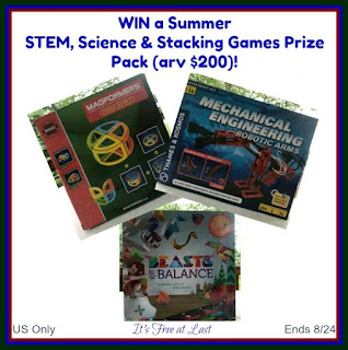 Enter the STEM, Science & Stacking Games Prize Pack Giveaway. Ends 8/24