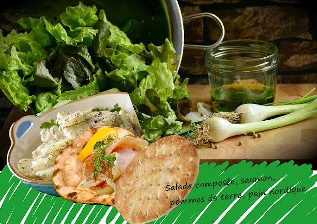 salade complète aux pommes de terre saumon fumé, mayonnaise, sans gluten