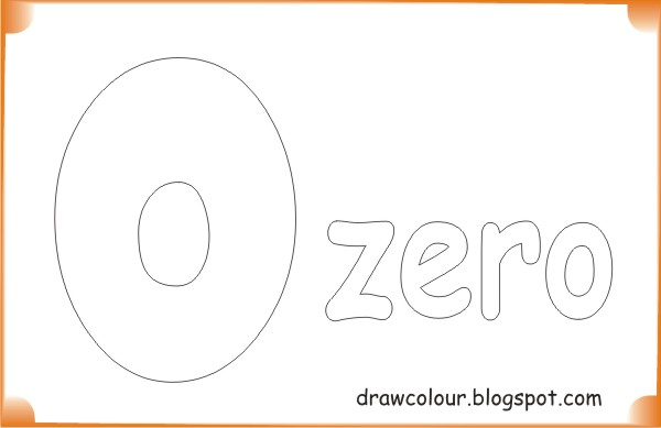 Coloring page outline of a number zero character saying zero. | 389x600