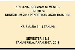 Download Administrasi Promes KB-B Usia 3-4 Tahun K 13 SMT 1 dan 2
