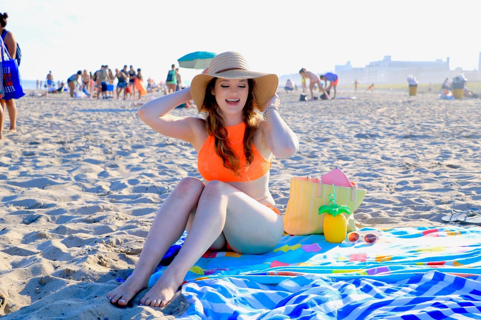 Fashion blogger Kathleen Harper on the beach
