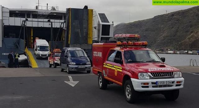 Bomberos de Tenerife llegan a La Palma para colaborar en la Transvulcania