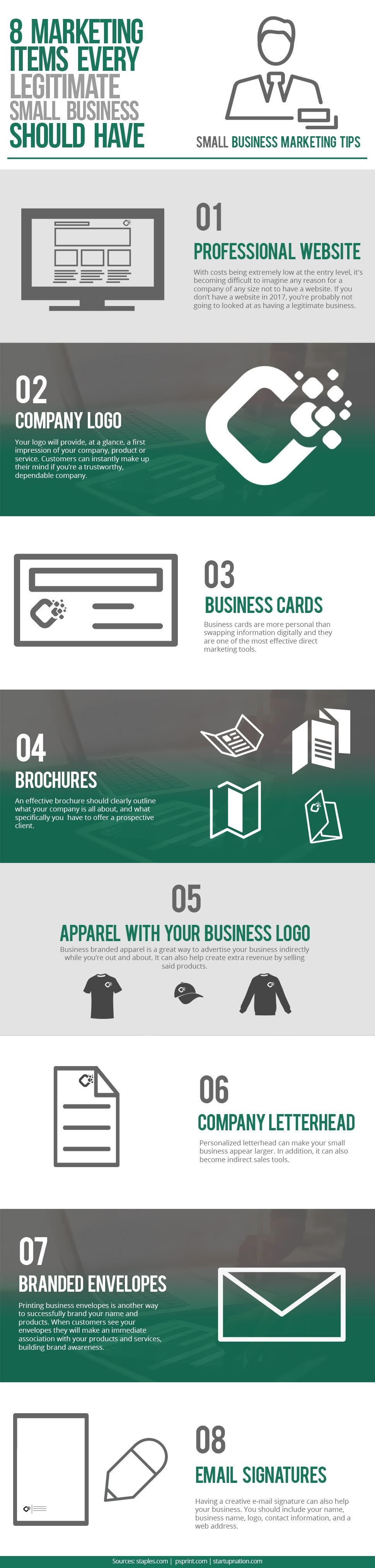 8 Marketing Items Every Legitimate Small Business