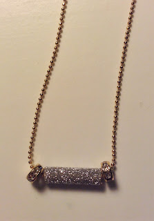 gold glitter bar necklace