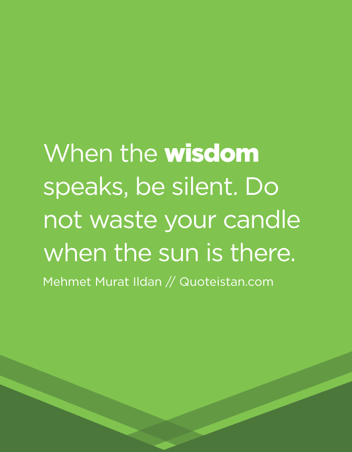 When the wisdom speaks, be silent. Do not waste your candle when the sun is there.