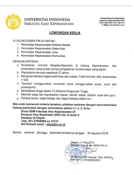 Lowongan Dosen Universitas Indonesia (UI) – Juli 2016