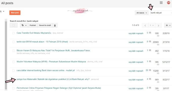 Fungsi 'Search' di Dashboard Blogger Posts makin pelik lah