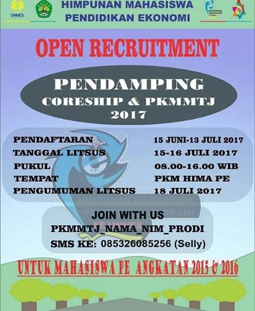 OPEN RECRUITMENT PENDAMPING CORESHIP & PKMMTJ 2017