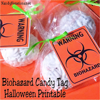 Give your trick or treaters something to be scared of this Halloween with this fun Biohazard Chocolate Brain.   The brain can be enjoyed after your Halloween guests are warned with the printable Biohazard Candy tag.