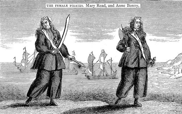 1720 pirates Mary Read and Anne Bonny illustration