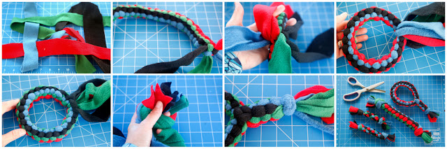 Step-by-step how to weave a dog tug toy loop with fleece