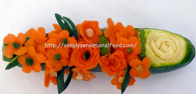 Courgette boat with carrot flowers create n carve fruit