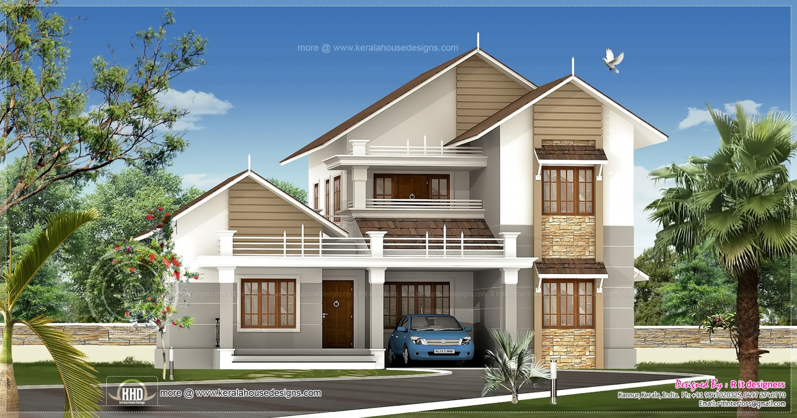 2539 sq ft sloping roof villa exterior kerala home for Sloped roof house plans in india