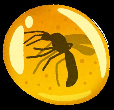 琥珀に閉じ込められた蚊のイラスト