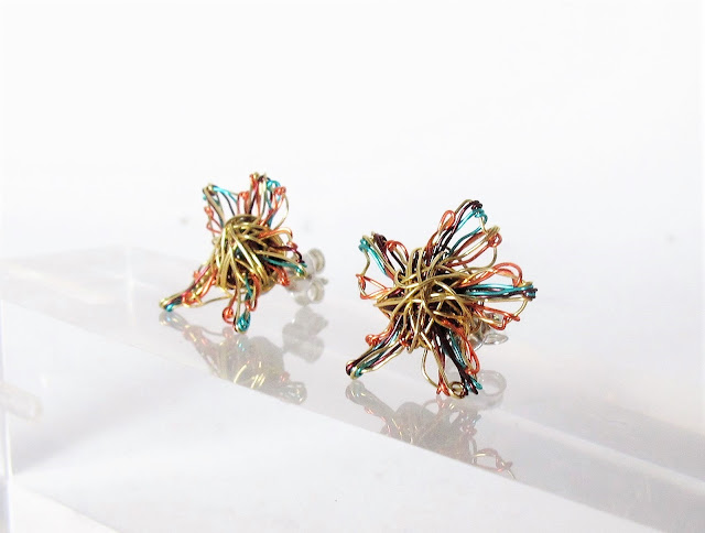 14k gold flower earrings, contemporary art earrings