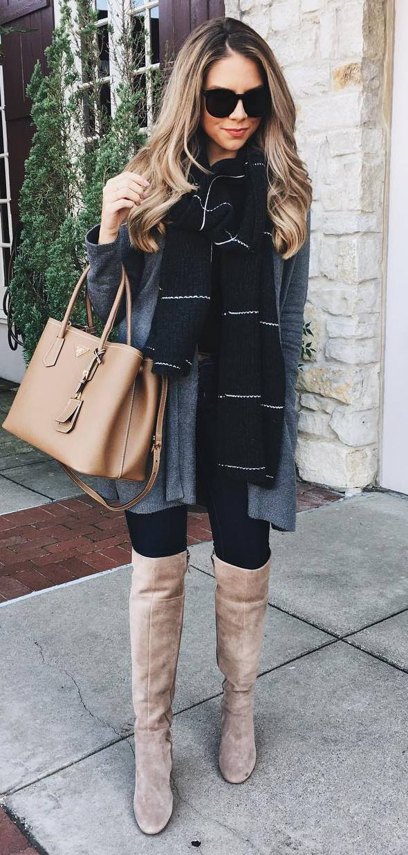 fall inspiration / bag + cardigan + skinnies + nude over knee boots + printed scarf