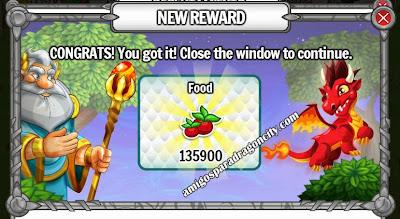 imagen del premio gratis de comida de dragon city