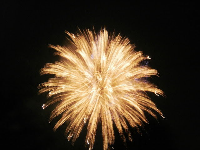 Explosion from fireworks seen in the sky