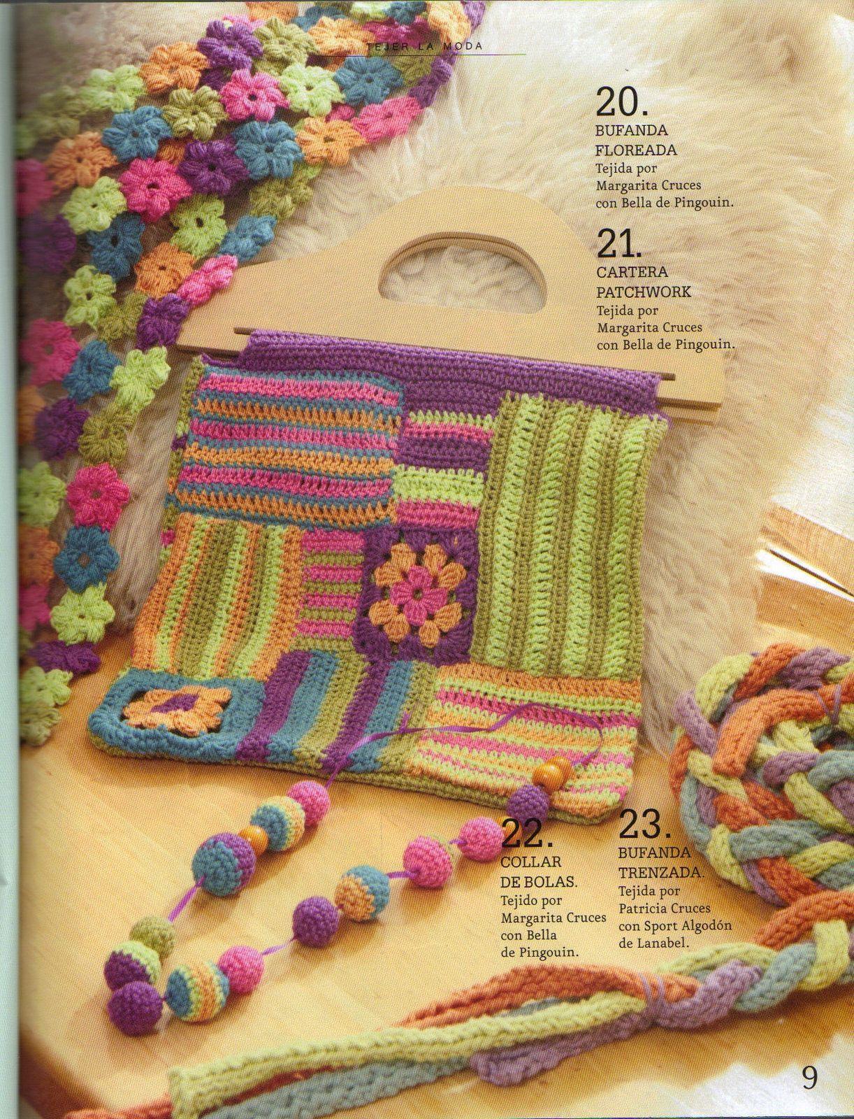 Conjunto Crochet Bufanda Flores, Cartera Patchwork