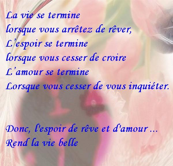 Message d'Amour et d'Amitié: Carte citation d'amour:L'espoir le rêve ...
