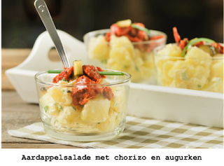 Aardappelsalade met chorizo en augurken
