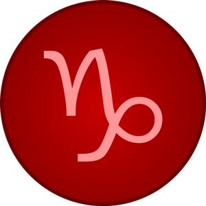 Imagen del signo Capricornio dentro de un circulo rojo