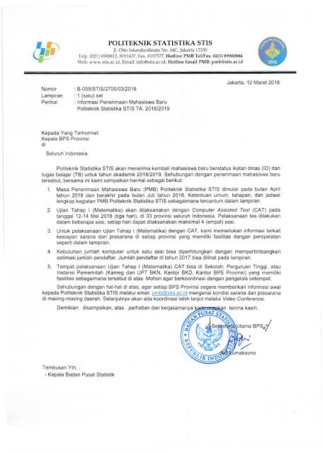 Penerimaan Sekolah Tinggi Ilmu Statistik (STIS) Ikatan Dinas tahun 2018/2019