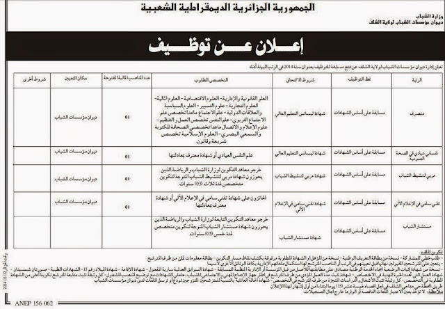 إعلان توظيف بديوان مؤسسات الشباب لولاية الشلف