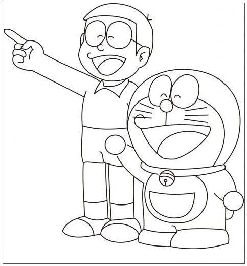 Tranh tô màu Nobita vui vẻ