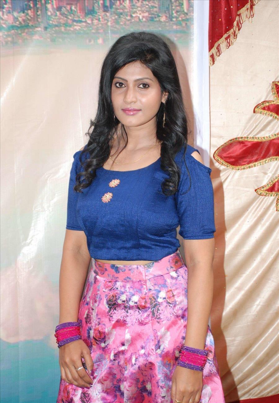 Beautiful Indian Girl Amrutha K In Blue Lehenga Choli