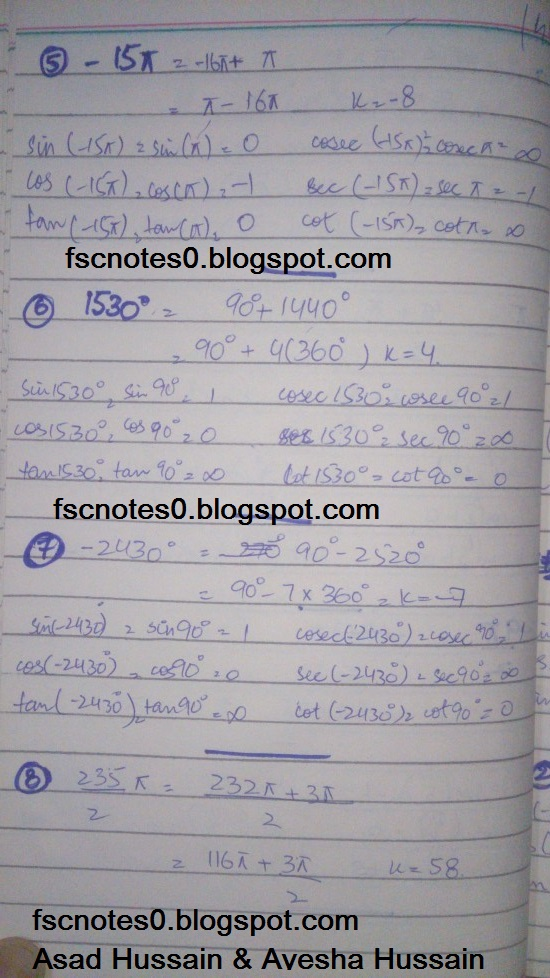 FSc ICS FA Notes Math Part 1 Chapter 9 Fundamentals of Trigonometry Exercise 9.3 Question 4 - 5 by Asad Hussain & Ayesha Hussain 2