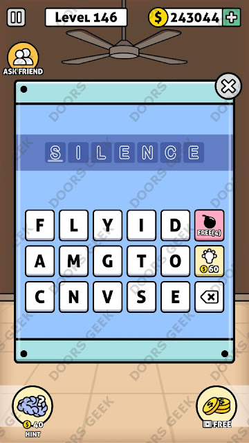 The answer for Escape Room: Mystery Word Level 146 is: SILENCE