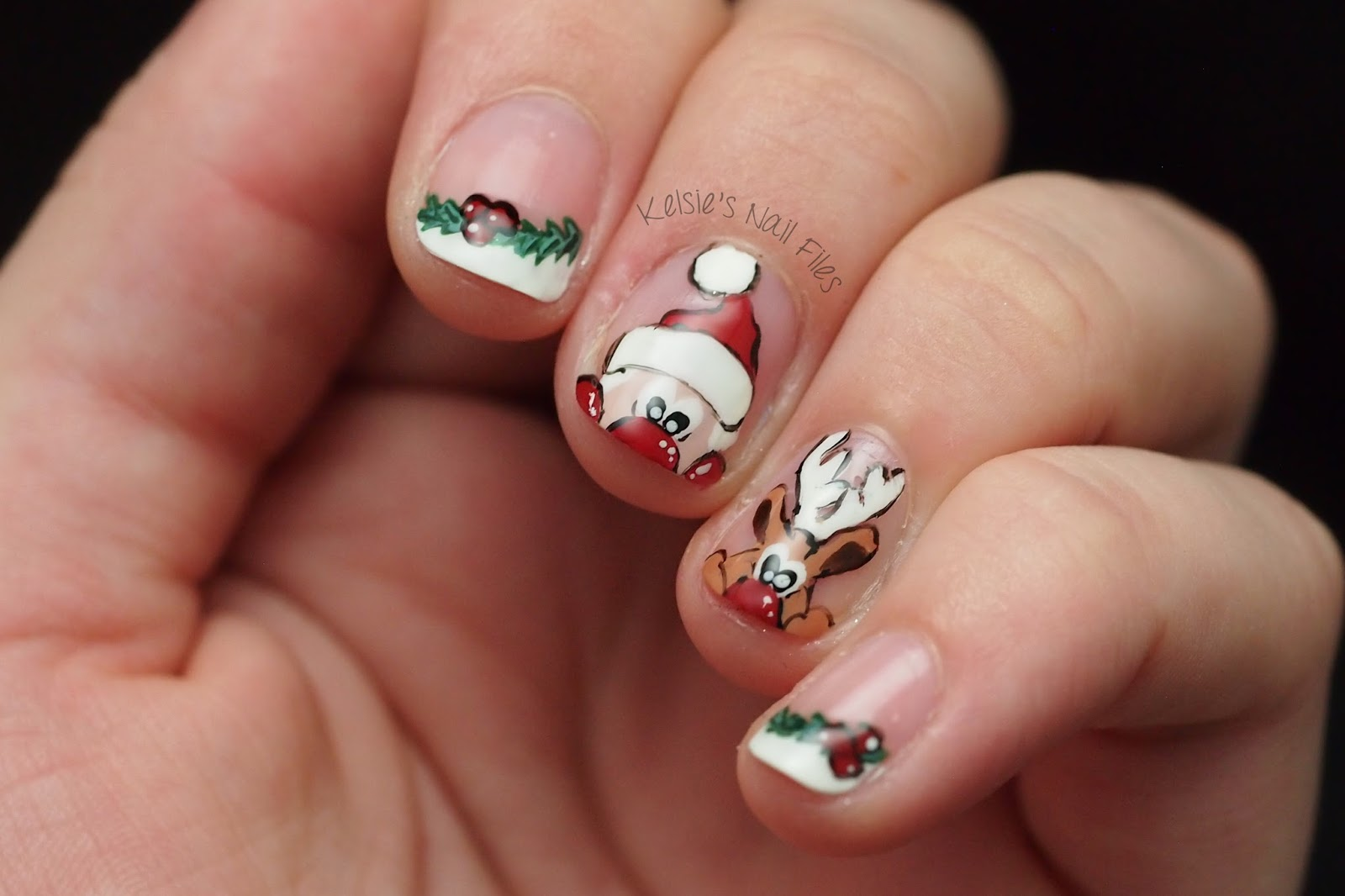 Kelsies nail files 2016 winter nail art challenge reindeer for day 7 reindeer santa or elfs i decided to go cartoon and do a peeking santa and rudolph prinsesfo Images