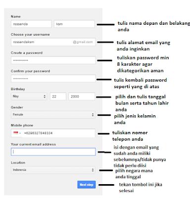 Form Pengisian data membuat email di google mudah