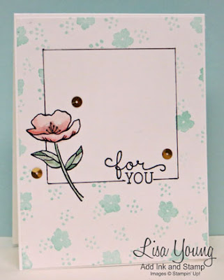 Stampin' Up! Birthday Bloom stamp set. One layer front with black hand drawn border. Handmade card by Lisa Young, Add Ink and Stamp