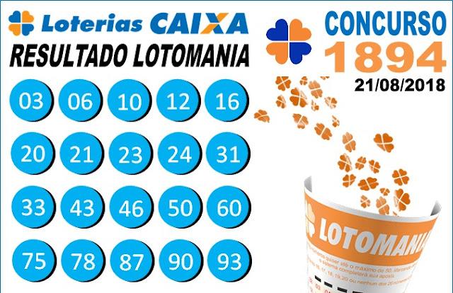 Resultado da Lotomania concurso 1894 de 21/08/2018 (Imagem: Informe Notícias)