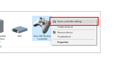 Game controller setting.