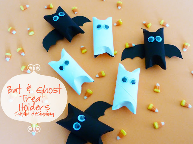 Bat and Ghosts Treat Holders #halloween #crafts