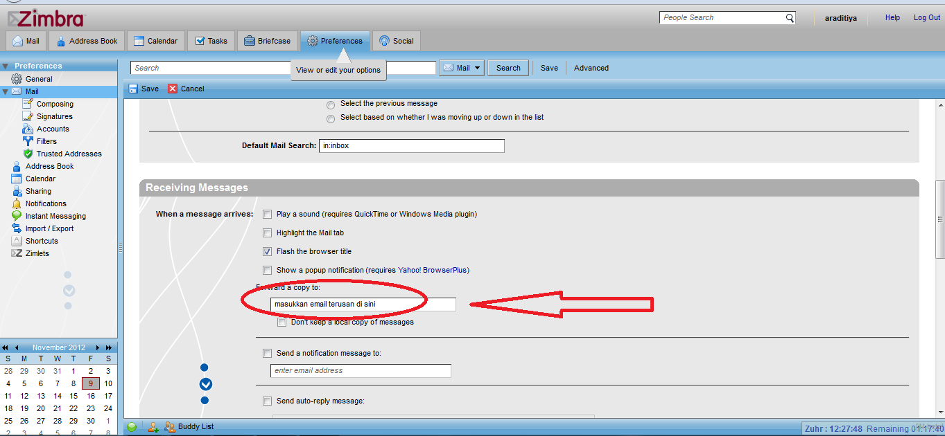 How to Automatically Forward Incoming Mail Messages in Zimbra