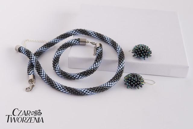 błękitny szary metaliczny biżuteria rękodzieło wrocław polska