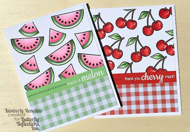 Sunny Studio Stamps: Fresh & Fruity Watermelon & Cherry Cards by Kimberly Rendino