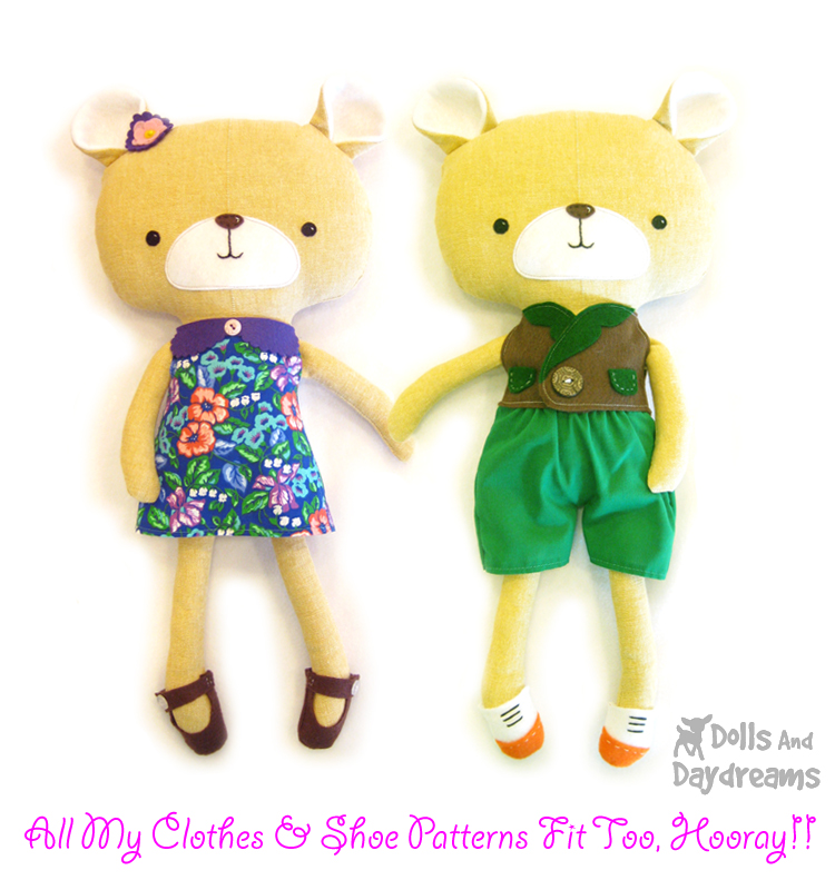 Dolls And Daydreams - Doll And Softie PDF Sewing Patterns: Teddy ...