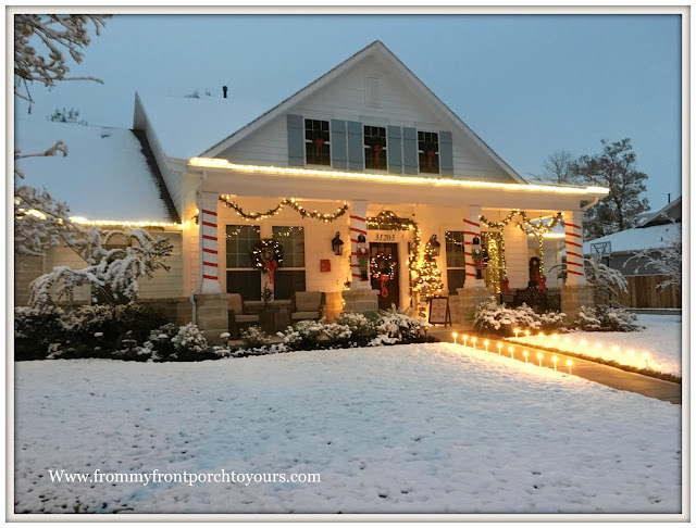 Christmas Front Porch Decorations-Farmhouse Porch-Snow Scene-Winter Wonderland-From My Front Porch To Yours