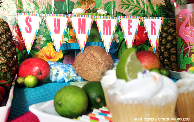 summer decor, luau table, tropical fruit, summer luau, summertime