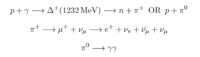 Equation from my thesis typed with LaTeX on Overleaf. This shows a commonly referenced particle astrophysics interaction between a proton and a photon.
