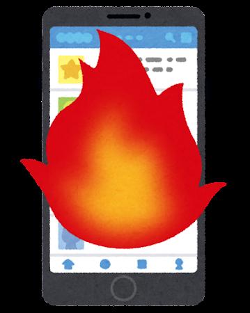 SNSが表示されたスマートフォンのイラスト(炎上)