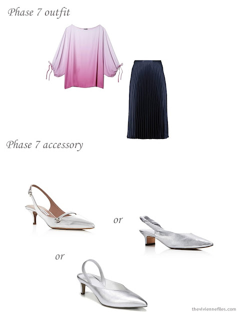 adding silver pumps to a 4 by 4 Wardrobe in Navy with floral accents