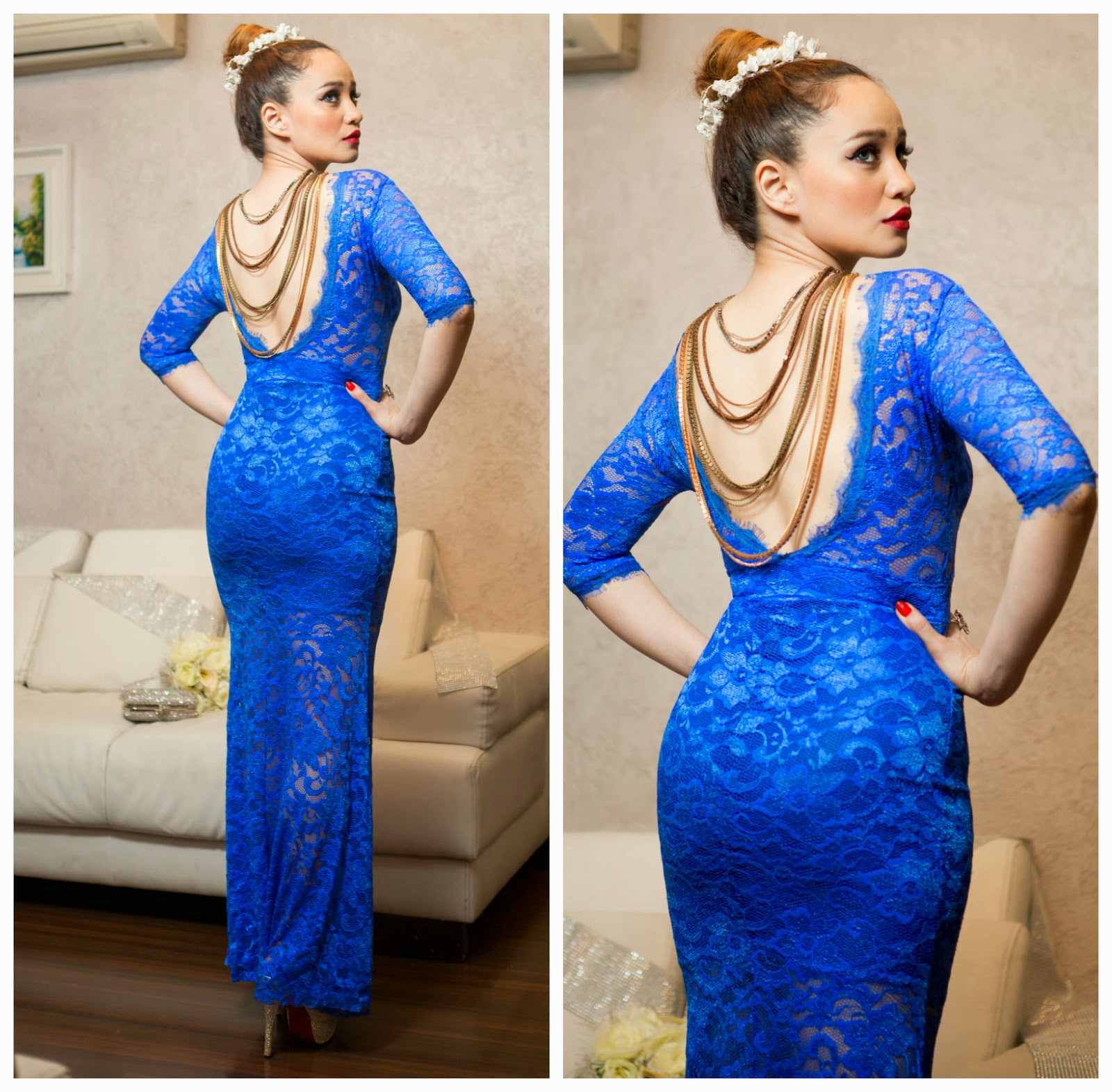 Sheinside Blue Lace Dress with a love V Back with a back-chain
