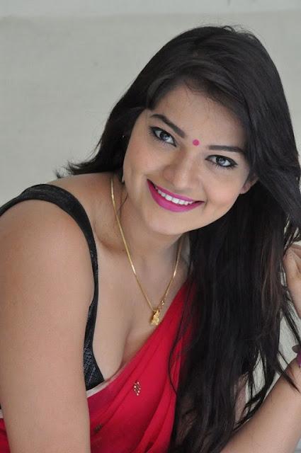 Ashwini armpits and navel in red saree